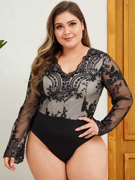 YOINS Plus Size Black Lace Patchwork Long Sleeves Bodysuit