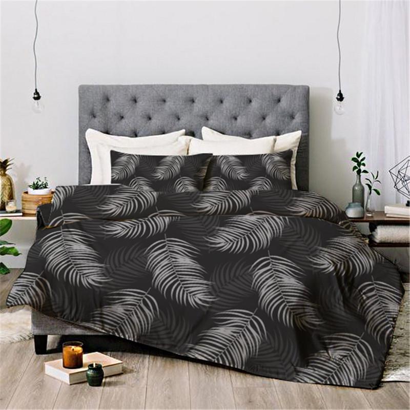 Light Feather Reactive Printing Four-Piece Set Duvet Cover Set Endurable Skin-friendly All-Season Polyester Bedding Sets