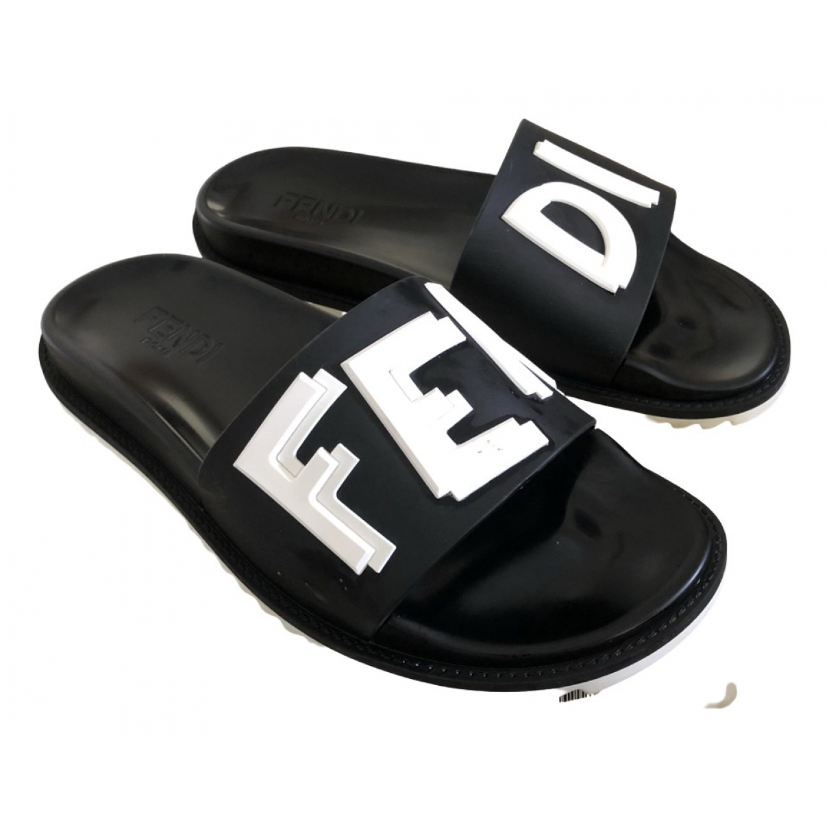 Fendi N Black Leather Sandals for Men 42 EU