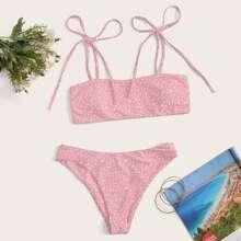 Ditsy Floral Tie Shoulder Bikini Swimsuit