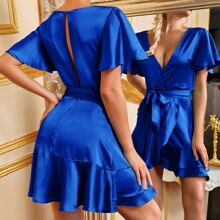Flutter Sleeve Wrap Ruffle Hem Belted Satin Dress
