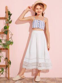 Girls Guipure Lace Hem Solid Skirt