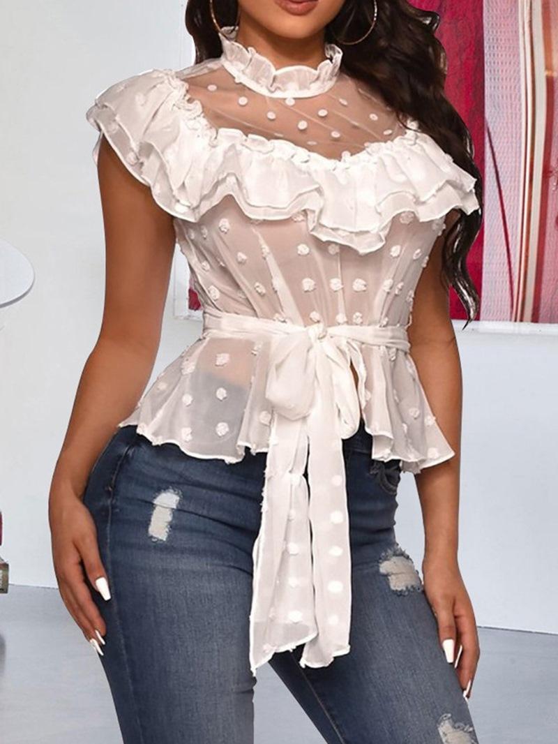 Ericdress Lace-Up Stand Collar Regular Standard Short Sleeve Blouse