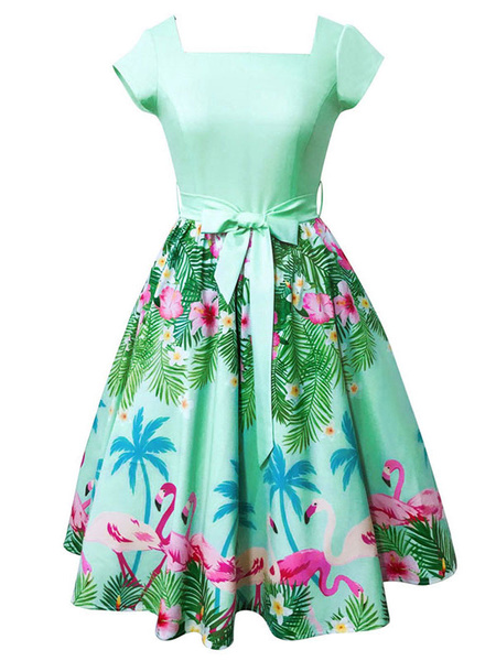 Milanoo Green Vintage Dress Square Neck Short Sleeve Flamingo Printed A Line Women's Dresses