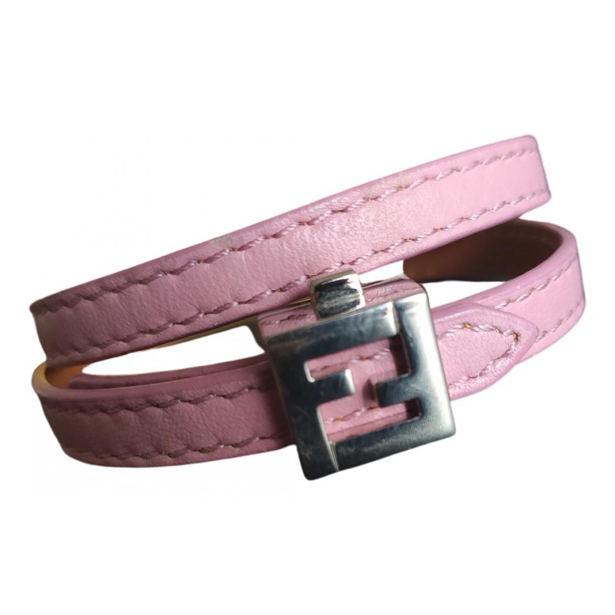 Fendi - Bracelet Serrure pour femme en cuir - rose