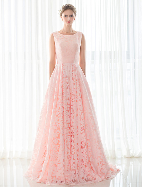 Milanoo Pink Wedding Dress Lace A-line Court Train Sleeveless Lace-up Bridal Gown With Hand Pockets