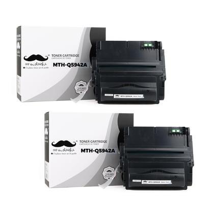 Compatible HP 42A Q5942A cartouche de toner noire - Moustache - 2/Paquet