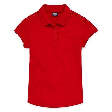 Izod Exclusive Little & Big Girls Short Sleeve Polo Shirt, 6/6x , Red