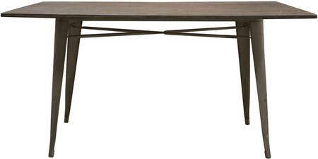 PANDADTRT Dining Table with Bamboo Top  Metal Base and Large Flat Surface Top  in Rust