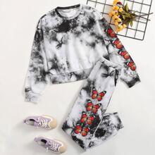Pullover mit Schmetterling Muster, sehr tief angesetzter Schulterpartie und Batik & Jogginghose Set