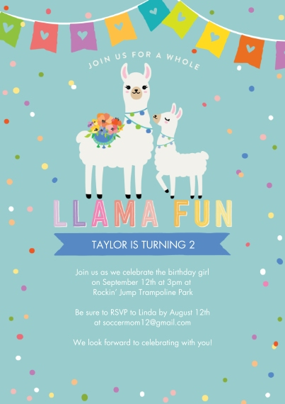 Kids Birthday Party Flat Glossy Photo Paper Cards with Envelopes, 5x7, Card & Stationery -Party Invite Lllama Fun by Tumbalina