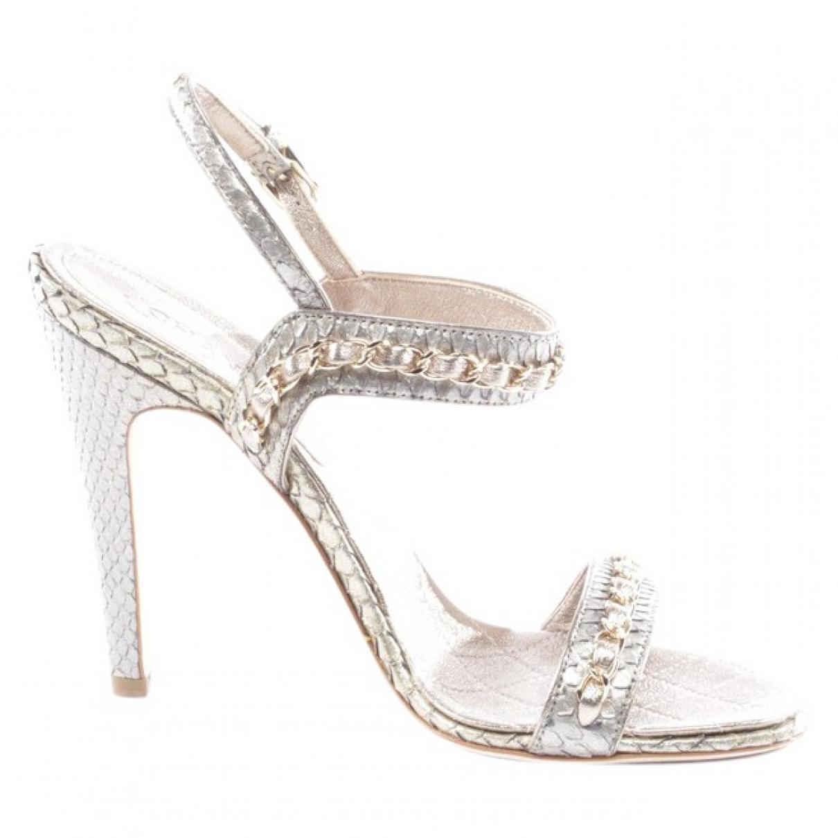 Chanel - Sandales   pour femme en python - gris