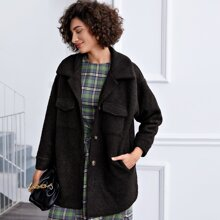Curved Hem Flap Pocket Teddy Coat