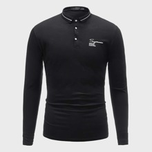Guys Letter Graphic Polo Shirt