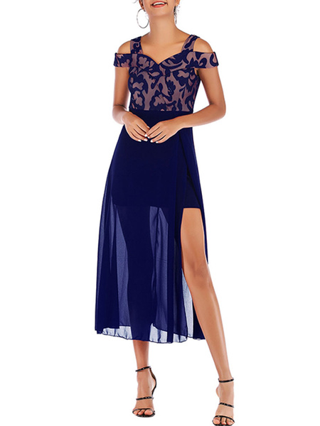 Milanoo Vestido de verano con cuello en V Vestido de playa azul marino oscuro