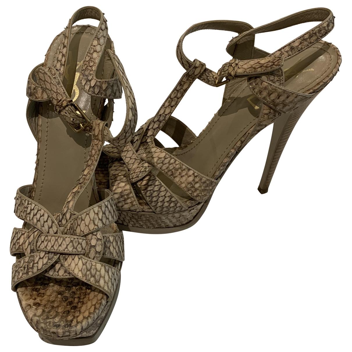 Yves Saint Laurent Tribute Grey Water snake Sandals for Women 39 EU