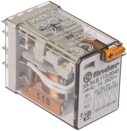 Finder , 110V ac Coil Non-Latching Relay 4PDT, 7A Switching Current Plug In, 4 Pole