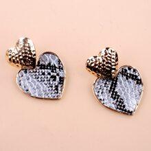 Snakeskin Print Drop Earrings