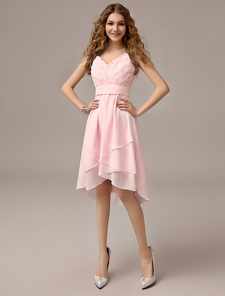 Milanoo Asymmetrical Blush Pink A-line Ruched Chiffon Bridesmaid Dress With Straps Neck