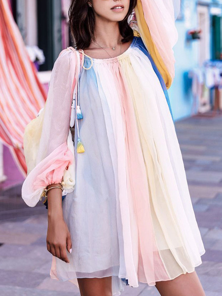 Milanoo Shift Dresses Pink Bateau Neck Lace Up Polyester Stripes Woman\'s Tunic Dress