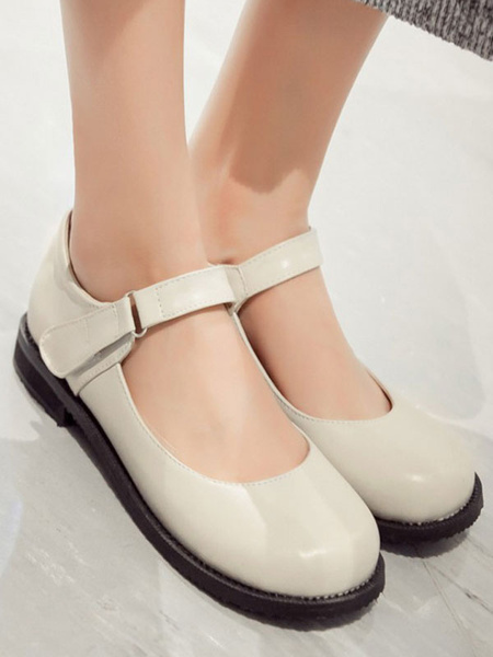 Milanoo Lolita Pumps Round Toe PU Leather Flat Lolita Shoes