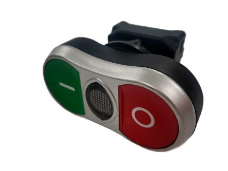 RS PRO Green, Red Push Button Head - Spring Return, 22mm Cutout, Double