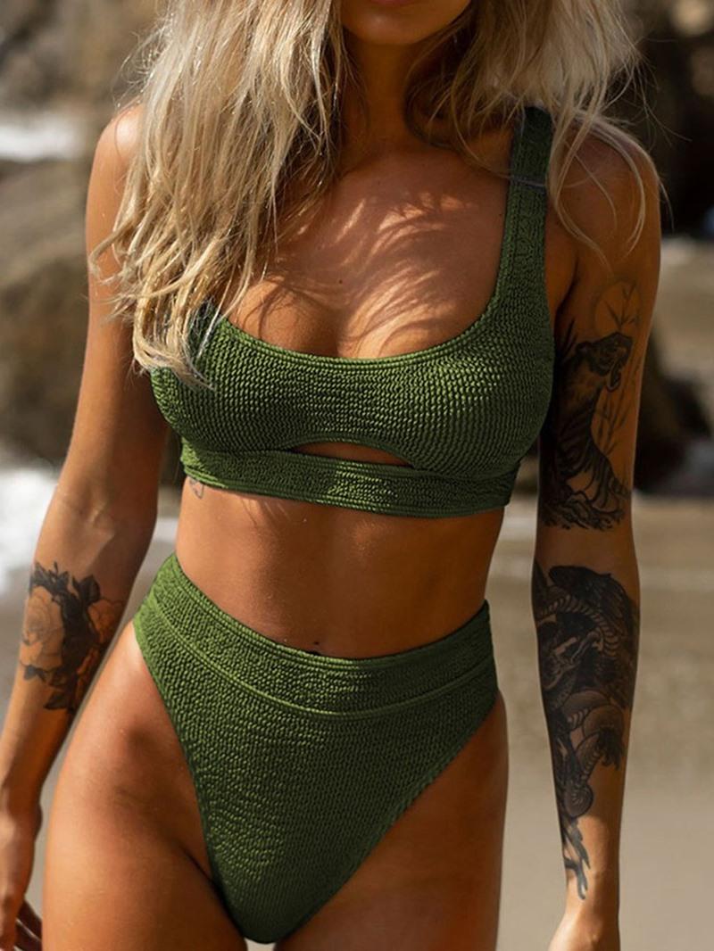 Ericdress Tankini Set Plain Sexy Slim Swimwear