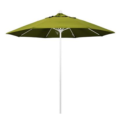 ALTO908170-F55 9' Venture Series Commercial Patio Umbrella With Matted White Aluminum Pole Fiberglass Ribs Push Lift With Olefin Kiwi