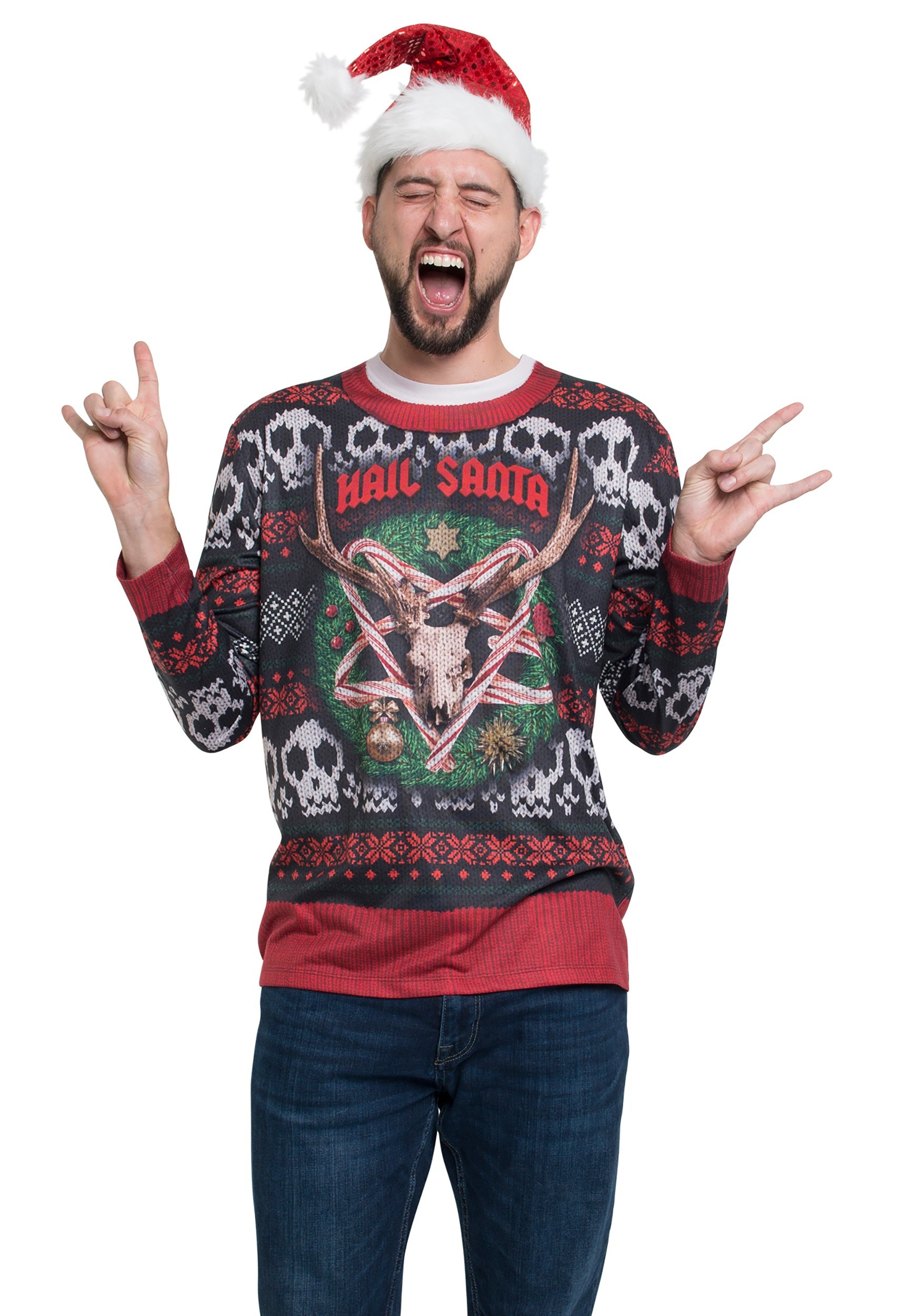 Long Sleeve Hail Santa Ugly Christmas Tee