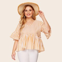 Plus Lettuce Frill Flounce Sleeve Striped Blouse