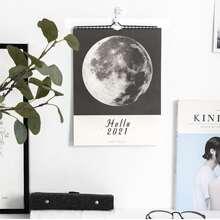 1 pieza calendario de pared 2021 con estampado de luna