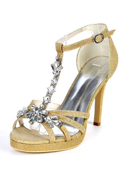 Milanoo Glitter Platform Wedding Shoes T-bar Crystal High Heel Strappy Sandals for Party