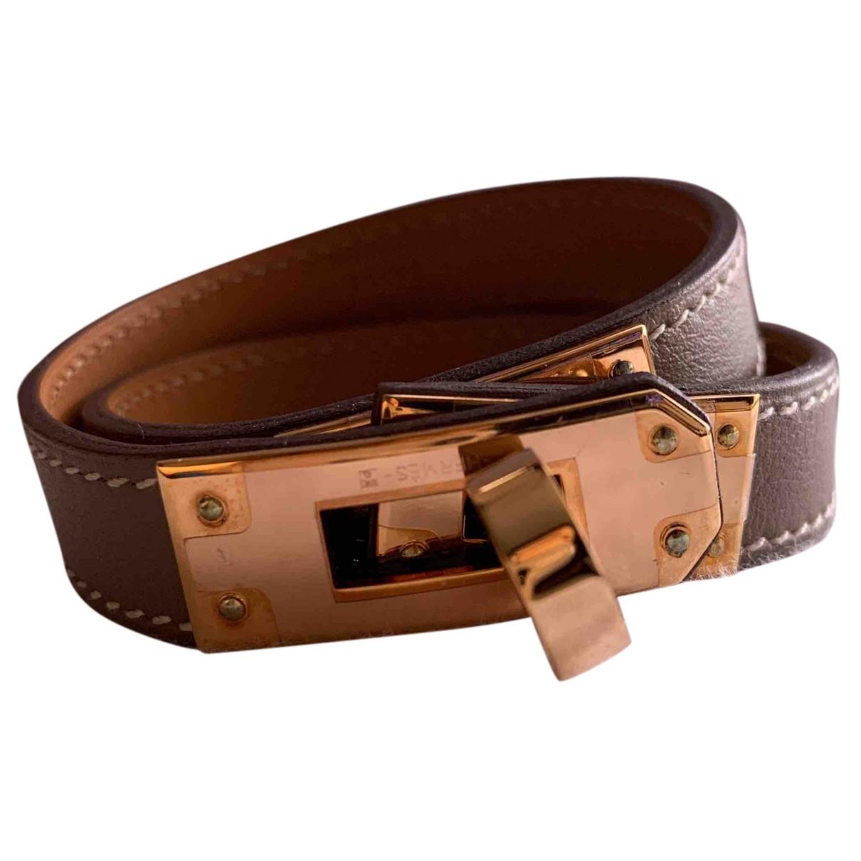 Hermes Kelly Double Tour Armband in  Grau Leder
