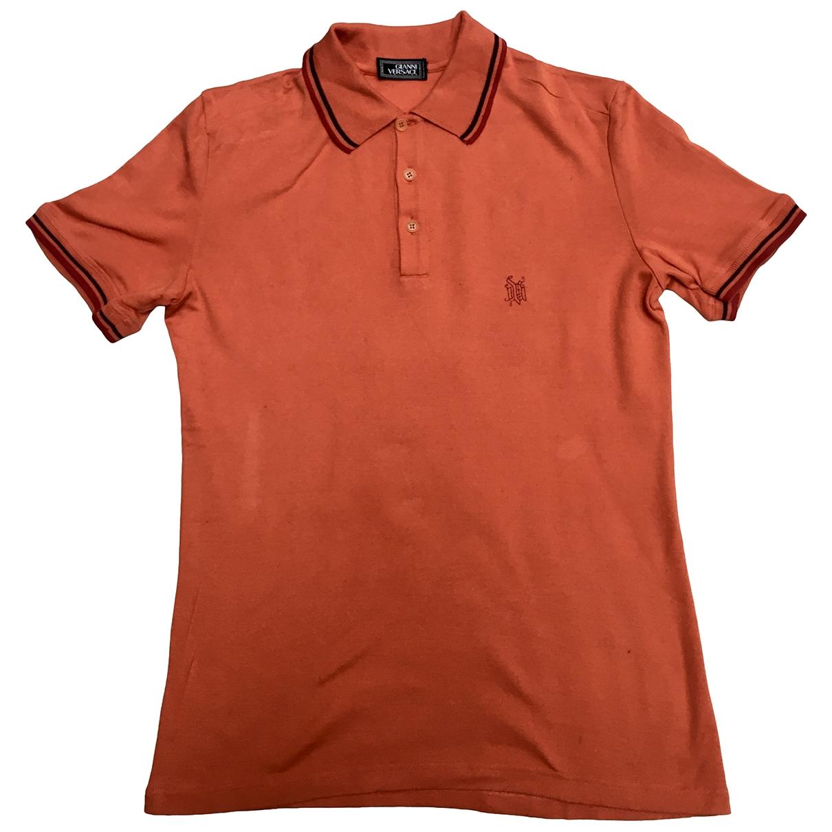 Gianni Versace - Polos   pour homme en coton - orange