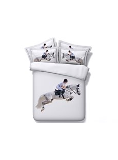 Steeplechase Horse and Jockey Printed Cotton 4-Piece 3D White Bedding Sets/Duvet Covers