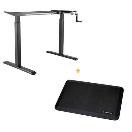Manual Crank Adjustable Height Sit-Stand Desk Frame, Black + Anti-fatigue Standing Mat PrimeCables®