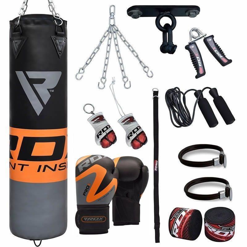 RDX FO Saco de Boxeo Relleno 4 pies Naranja 13 pzas  con Guantes de Boxeo 16 oz