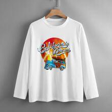 T-Shirt mit Buchstaben Grafik und langen Ärmeln