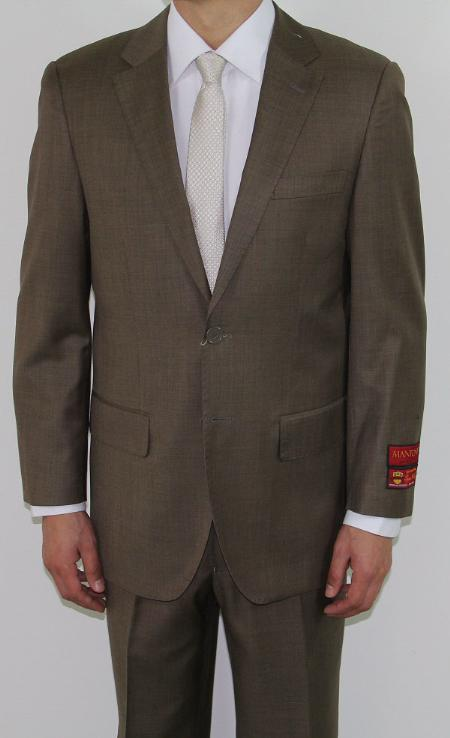 Mens Two Button Taupe Wool Suit