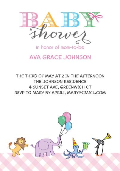 Baby Shower Invitations 5x7 Cards, Premium Cardstock 120lb with Elegant Corners, Card & Stationery -Baby Shower Animals