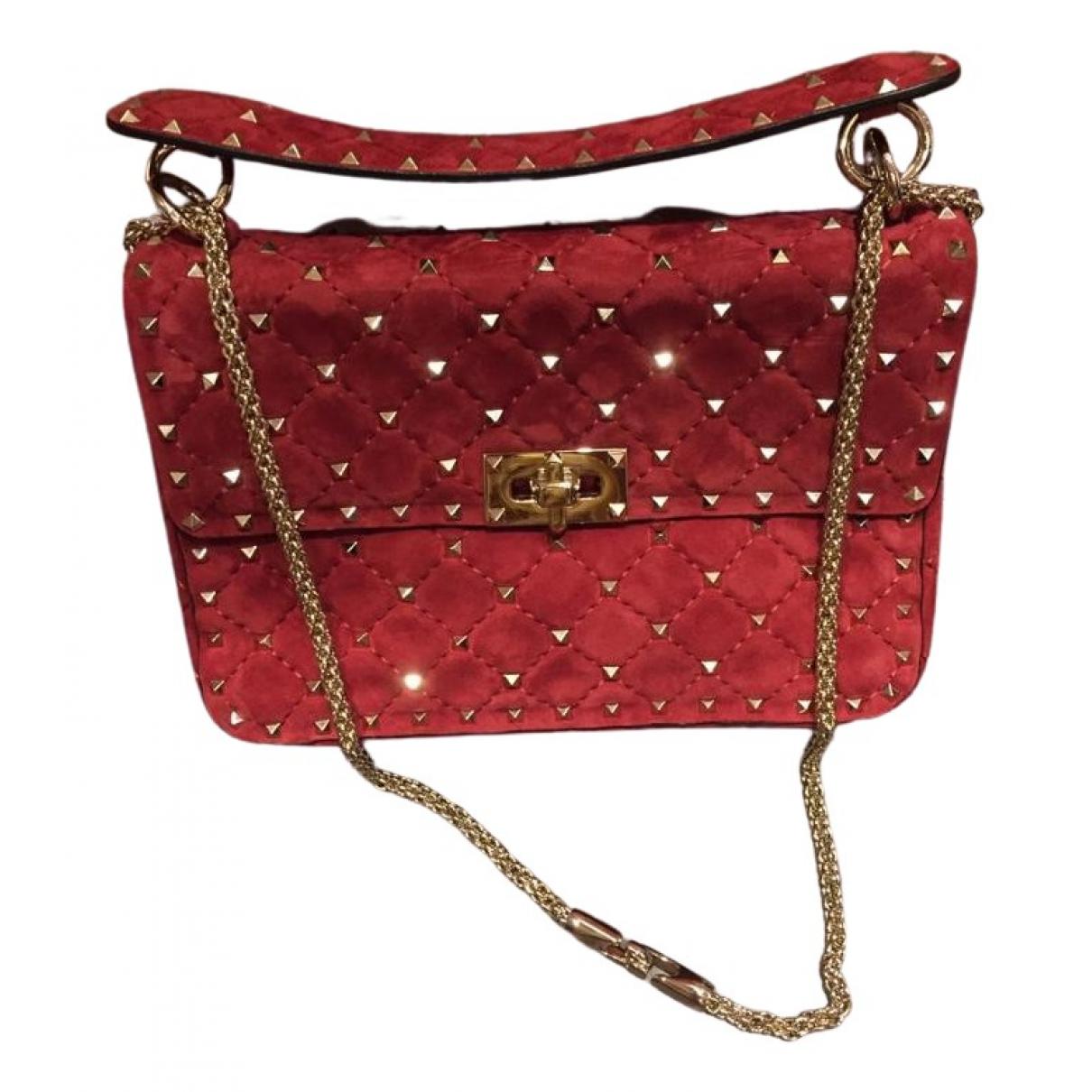Valentino Garavani Rockstud spike Burgundy Suede handbag for Women \N