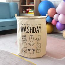 Letter Graphic Foldable Laundry Basket