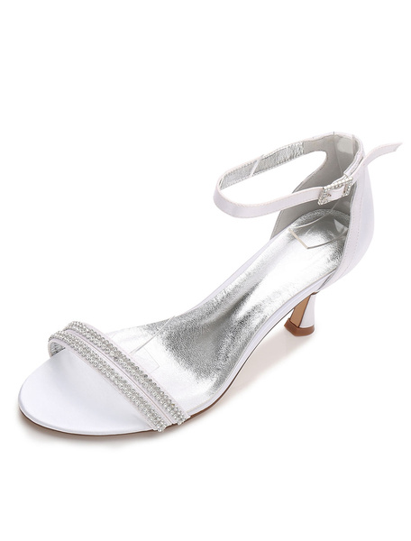 Milanoo White Wedding Shoes Satin Open Toe Rhinestone Ankle Strap Bridal Sandals