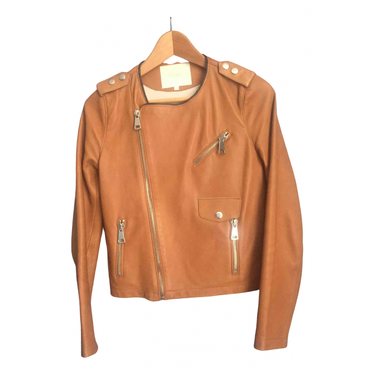 Maje \N Camel Leather Leather jacket for Women 38 FR