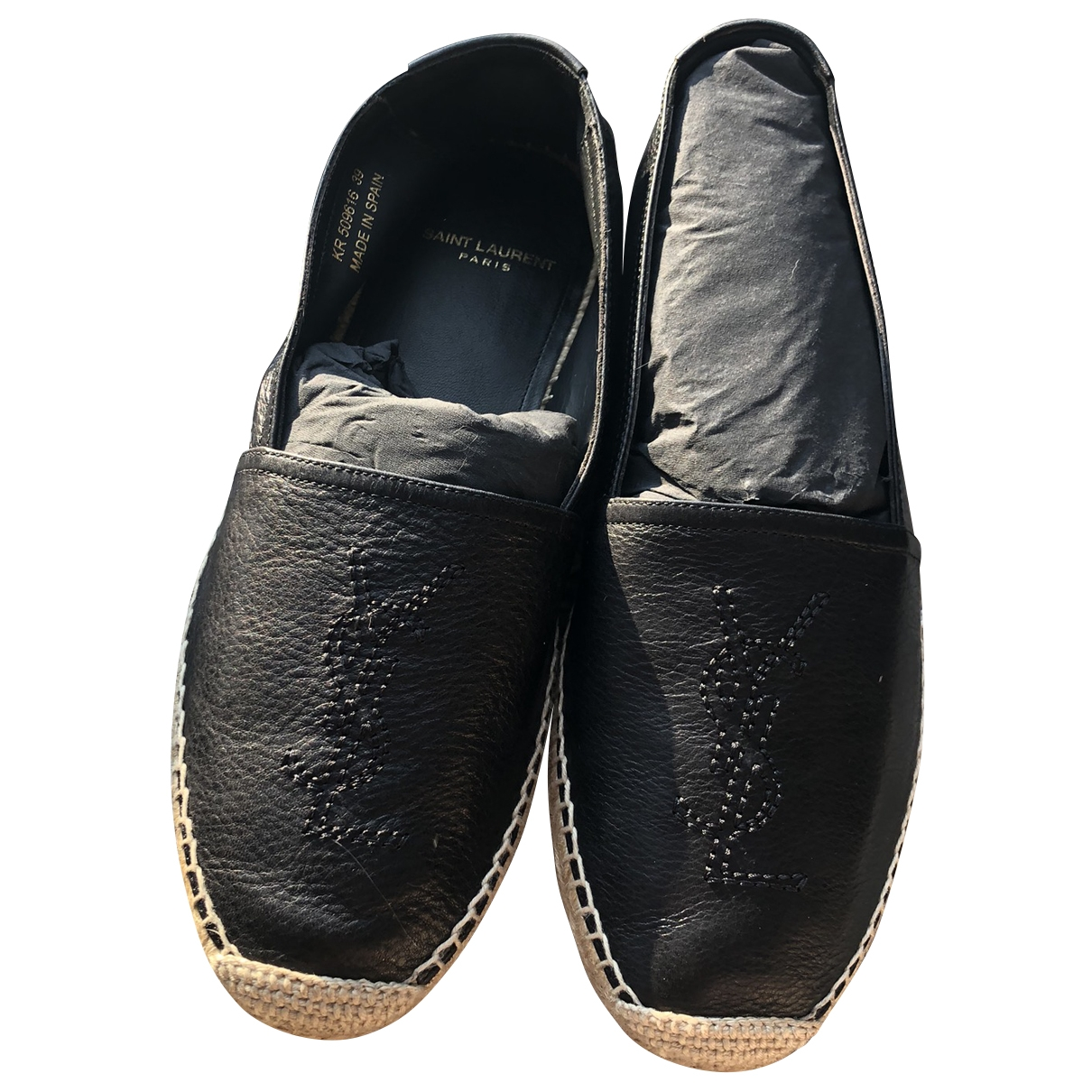 Saint Laurent \N Black Leather Espadrilles for Women 39 EU