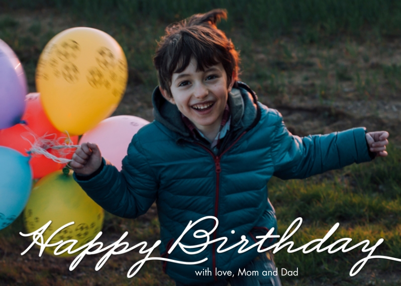 Birthday Greeting Cards 5x7 Folded Cards, Standard Cardstock 85lb, Card & Stationery -Birthday Simple Script