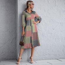 Vestido estilo camisa con estampado geometrico con retazo