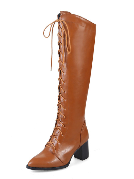 Milanoo Knee High Boots Womens PU Solid Color Lace Up Pointed Toe Chunky Heel Boots