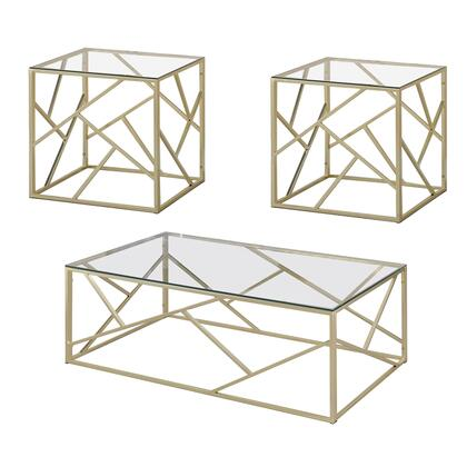 BM207983 Industrial 3 Piece Table Set with Open Geometric Base  Clear and