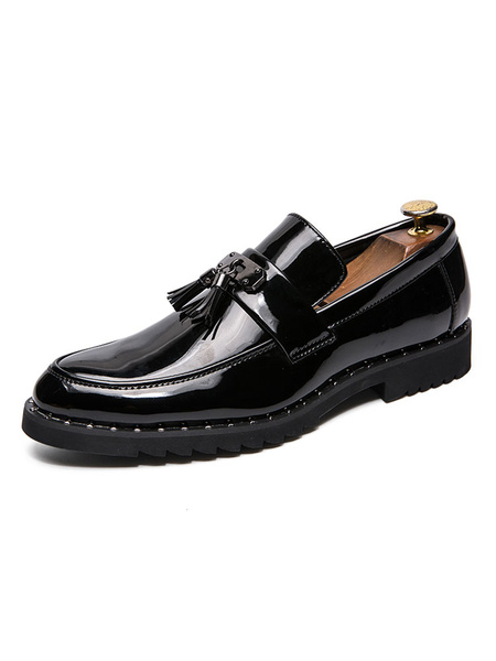 Milanoo Loafer Shoes For Men Fashion PU Leather Pointed Toe Slip-On Men\'s Loafer Shoes